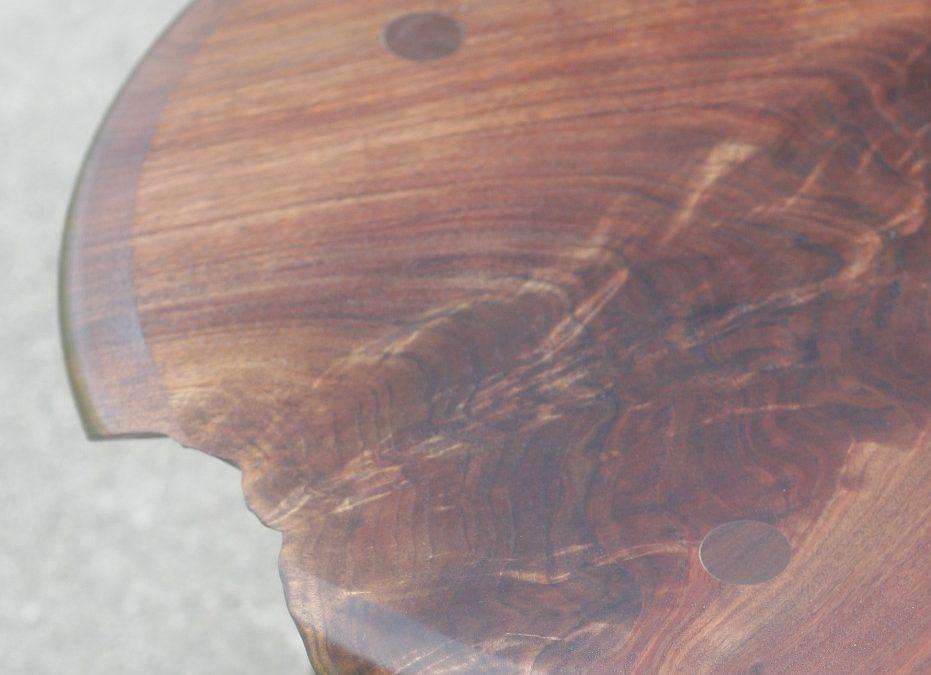 Crotch walnut end tables