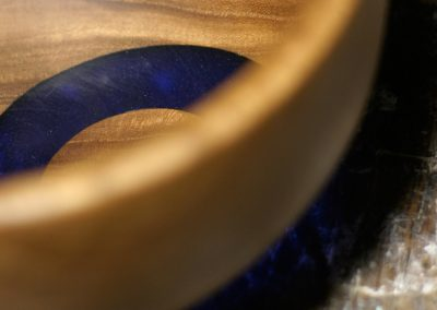 Lighted Bowl 1: Elm with blue ring